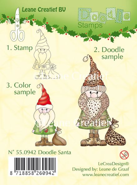 55.0942 ~ DOODLE SANTA  ~ Leane Creatief Clear Stamp